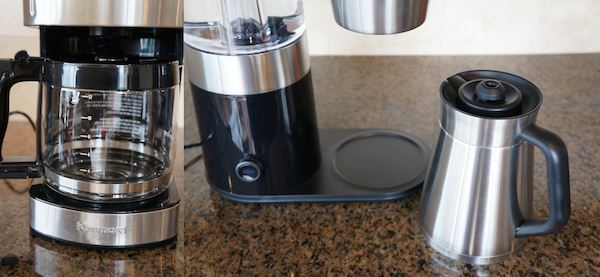The Kenmore brewer features the classic glass carafe and warming plate technology, while the OXO On Barista Brain utilizes a thermal carafe system.