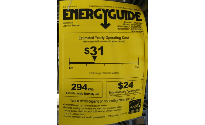 All appliances are required by law to display a yellow Energy Guide label indicating their energy usage.