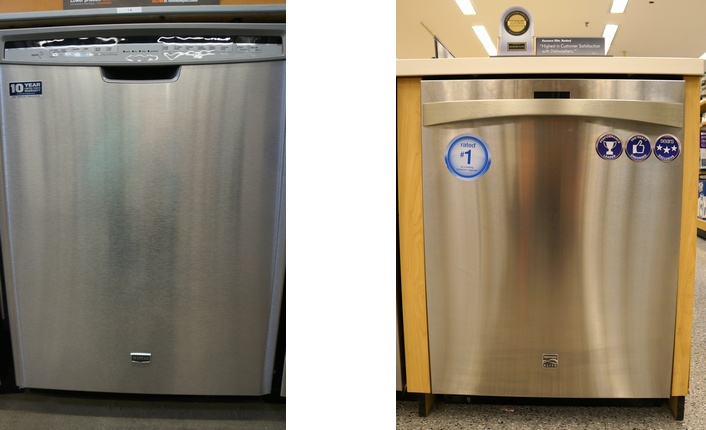 A stainless steel dishwasher that has an exposed control panel vs. a concealed one.