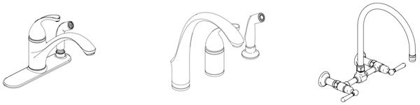Examples of Deckplate, Non-Deckplate and Wall Mount Faucets