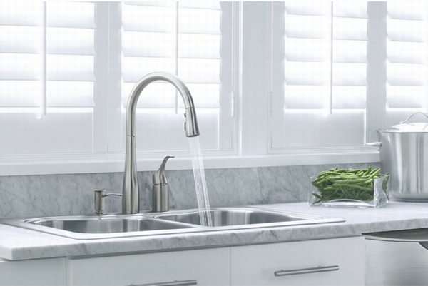 the b kohler compressed in lines single supply faucet faucets n bn forte kitchen simplice nickel standard with depot brushed spout k handle vibrant side home sprayer