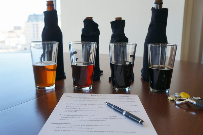 This is set up we used for our blind taste test. Everyone had a detailed evaluation sheet and their own bottles, which were revealed after the test.