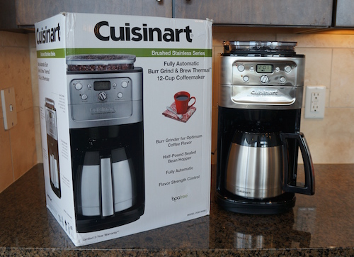 The Cuisinart DGB-900BC is an automatic drip brewer with a built-in Burr coffee bean grinder.