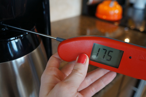 Although it was tough to measure the brew temperature, the hottest temperature we measured was mid-cycle at 175°F.
