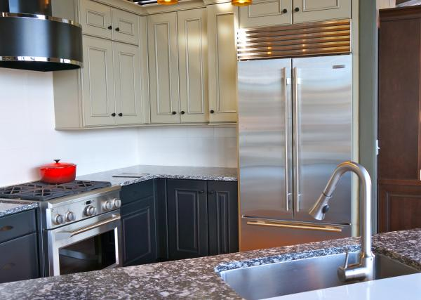 A Kitchen Featuring Sub Zero BI 36UFD French Door Refrigerator.