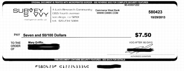 An example of a check from SurveySavvy.
