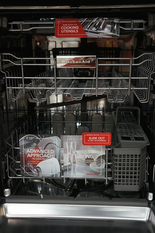 The KDTE334D Dishwasher Features A Three Rack Storage System.