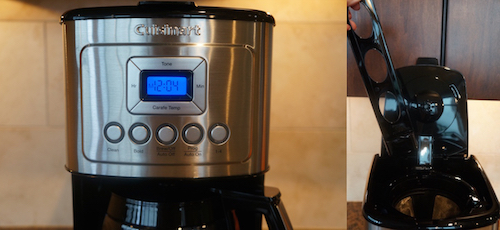 This Cuisinart model is highly programmable and it also includes a built-in charcoal water filter.