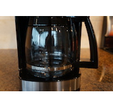 This model has classic glass carafe and warming plate technology.